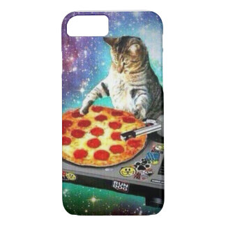 Capa iPhone 8/ 7 exemplo do gato da pizza do DJ do iPhone 7