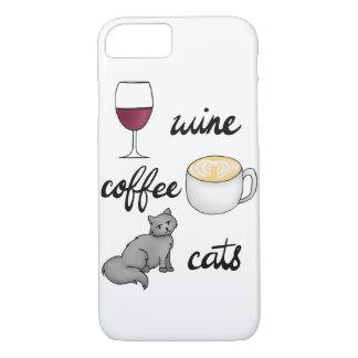 Capa iPhone 8/ 7 Exemplo dos gatos do café do vinho