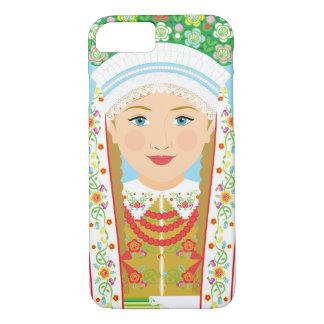 Capa iPhone 8/ 7 Exemplo polonês de Matryoshka da noiva de Łowicz