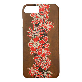 Capa iPhone 8/ 7 Falso havaiano do Tapa do hibiscus de Kalaheo de