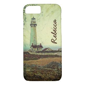 Capa iPhone 8/ 7 Farol chique litoral da paisagem da pintura a óleo