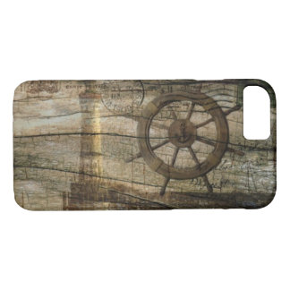 Capa iPhone 8/ 7 Farol náutico litoral primitivo da roda do leme
