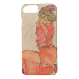 Capa iPhone 8/ 7 Fêmea de ajoelhamento de Egon Schiele no vestido