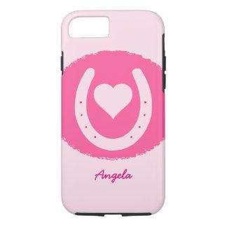 Capa iPhone 8/ 7 ferradura e coração cor-de-rosa