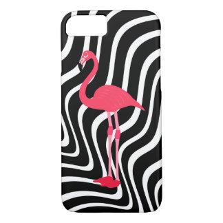 Capa iPhone 8/ 7 flamingo cor-de-rosa em listras onduladas preto e