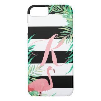 Capa iPhone 8/ 7 Flamingo cor-de-rosa & listras pretas Monogrammed