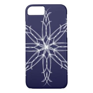 Capa iPhone 8/ 7 Floco de neve sofisticado elegante do Natal - azul
