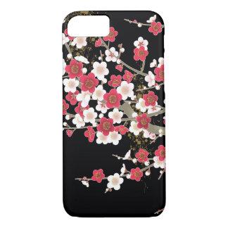 Capa iPhone 8/ 7 Flor cor-de-rosa & branca do japonês do vintage de