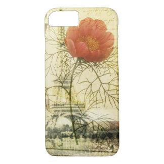 Capa iPhone 8/ 7 Flor da papoila do chique da torre Eiffel de Paris