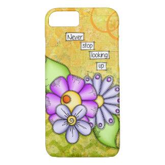 Capa iPhone 8/ 7 Flor positiva do Doodle do pensamento do prazer da