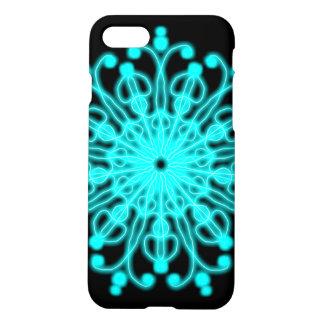 Capa iPhone 8/7 Flor preta e azul do laço do ~