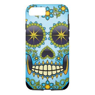 Capa iPhone 8/ 7 Floral azul do crânio do açúcar