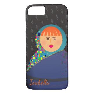 Capa iPhone 8/ 7 Floral do preto da boneca do russo de Matryoshka