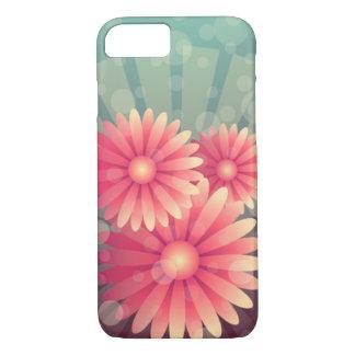 Capa iPhone 8/ 7 Flores cor-de-rosa e círculos azuis