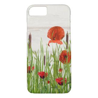 Capa iPhone 8/ 7 flores e cattails vermelhos da papoila