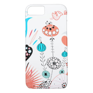 Capa iPhone 8/ 7 Flores e passarinho da fantasia