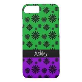 Capa iPhone 8/ 7 Flores retros pretas com o verde & o roxo