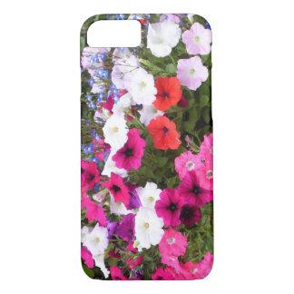 Capa iPhone 8/ 7 Flores roxas e brancas cor-de-rosa vermelhas do