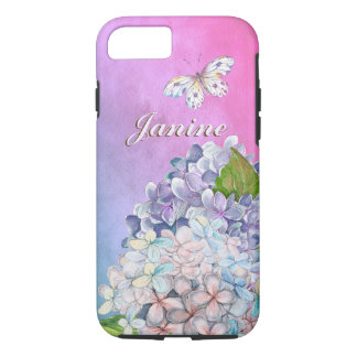 Capa iPhone 8/ 7 Flores sonhadoras do Hydrangea do Lilac