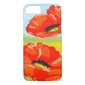 Capa iPhone 8/ 7 Flores vermelhas da papoila da aguarela