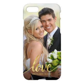 Capa iPhone 8/7 Folha de prova escrita à mão da foto do casamento
