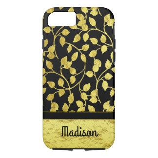 Capa iPhone 8/ 7 Folhas botânicas da folha de ouro do falso,