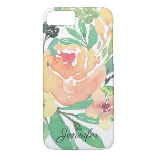 Capa iPhone 8/ 7 Folhas cor-de-rosa femininos da peônia da aguarela