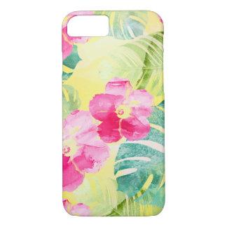 Capa iPhone 8/ 7 Folhas da banana e flores tropicais do hibiscus