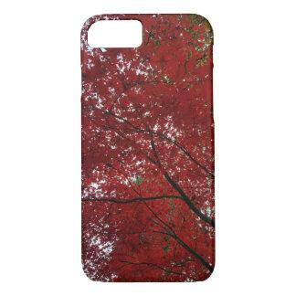 Capa iPhone 8/ 7 Folhas de outono vermelhos marrom do Outono da