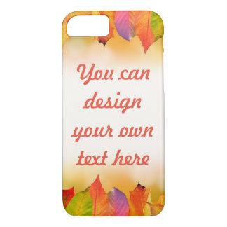 Capa iPhone 8/ 7 Folhas de outono vibrantes com texto customizável