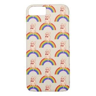 Capa iPhone 8/ 7 Frenchie comemora o mês do orgulho no arco-íris de