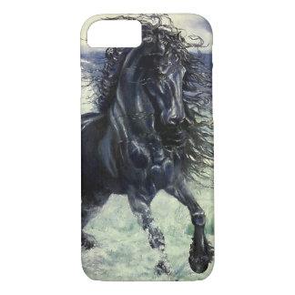 Capa iPhone 8/ 7 Frisão, cavalo preto do garanhão da beleza, ondas