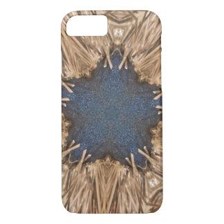 Capa iPhone 8/ 7 Fundo azul do vime da estrela do caleidoscópio