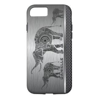 Capa iPhone 8/ 7 Fundo das cinzas de prata & elefante floral preto