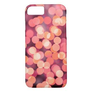 Capa iPhone 8/ 7 Fundo das luzes do natal vintage. Vermelho & rosa