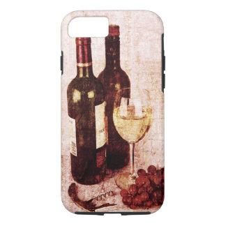 Capa iPhone 8/ 7 Garrafas com vinho, vidro de vinho branco e uvas