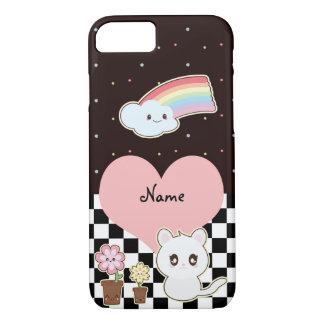 Capa iPhone 8/ 7 Gatinho e arco-íris de Kawaii tão bonitos