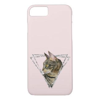 Capa iPhone 8/ 7 Gato de gato malhado com quadro do brilho da prata