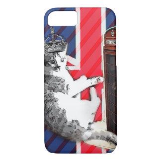 Capa iPhone 8/ 7 gato do gatinho da coroa da cabine de telefone da