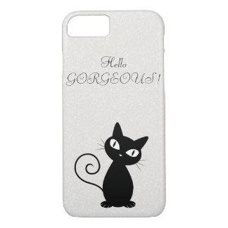 Capa iPhone 8/ 7 Gato preto lunático subtil Glittery-Olá! lindo