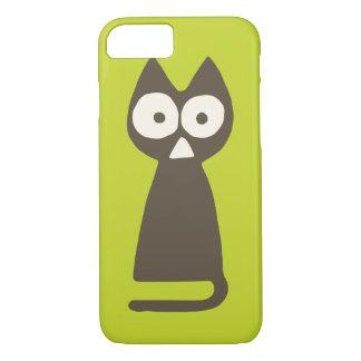 Capa iPhone 8/ 7 Gato verde do triângulo de Matcha Brown