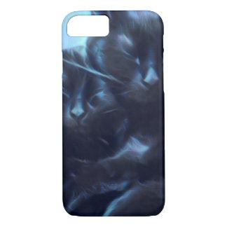 Capa iPhone 8/ 7 Gatos pretos do sono, azul/preto