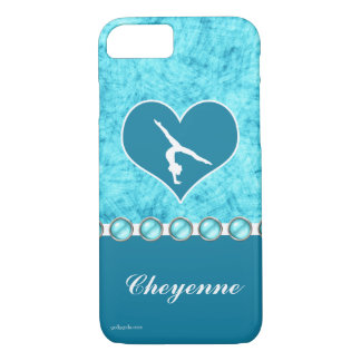 Capa iPhone 8/ 7 Ginástica bonita personalizada de turquesa