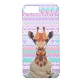 Capa iPhone 8/ 7 Girafa engraçado com o tribal asteca Pastel