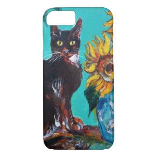 CAPA iPhone 8/ 7 GIRASSÓIS COM CAT PRETO NA TURQUESA AZUL