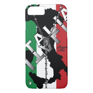 Capa iPhone 8/ 7 grânulo italiano do rosário da cruz da bandeira de