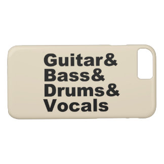Capa iPhone 8/ 7 Guitar&Bass&Drums&Vocals (preto)