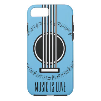 Capa iPhone 8/ 7 Guitarra das notas musicais | do melómano |
