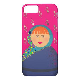 Capa iPhone 8/ 7 Hipster floral do rosa da boneca do russo de
