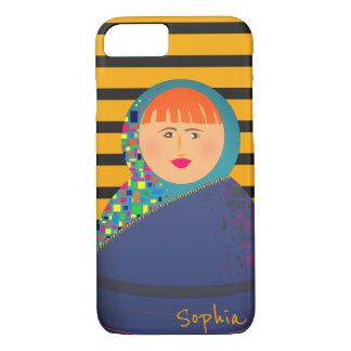 Capa iPhone 8/ 7 Hipster moderno das listras da boneca do russo de